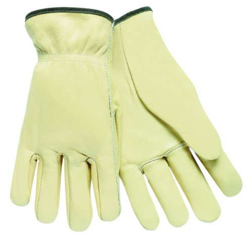 MCR Safety 3201M Select Grade Unlined Grain Leather Driver Men's Gloves with Straight Thumb, Cream, Medium, 1-Pair by MCR (Select Grain Leather)