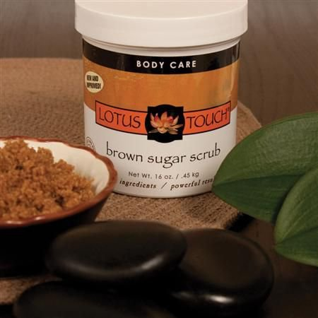 Lotus Touch Brown Sugar Scrub, 16 Ounce - Hand and Body Scrub to Exfoliate & Moisturize Skin