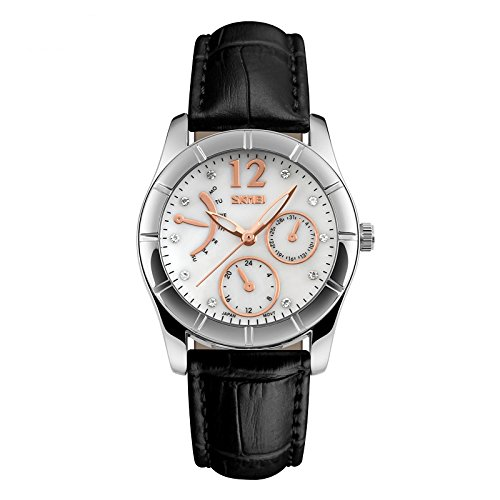 J.Market Womens 50 Meters Waterproof Quartz Fashionable Watch with Genuine Leather Band (Black)