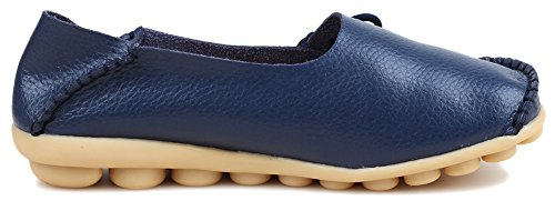 PhiFA Womens Genuine Leather Moccasin Driving Flat Shoes Slip-on Loafers Blue 5tKEM