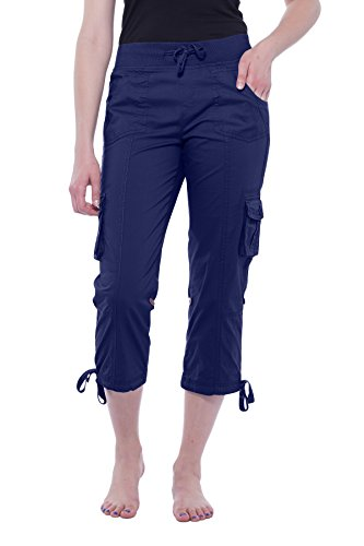 Alki'i Women's Elastic Waist Drawstring Cargo Capri with Adjustable Length 2141 Navy XL