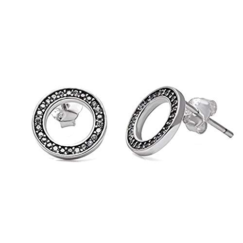 Stud Earrings Forever - Authentic 925 Sterling Silver - European-style Charm ()