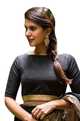 (Women's Party Wear Readymade Bollywood Designer Indian Style Padded Blouse for Saree Crop Top Choli Black)