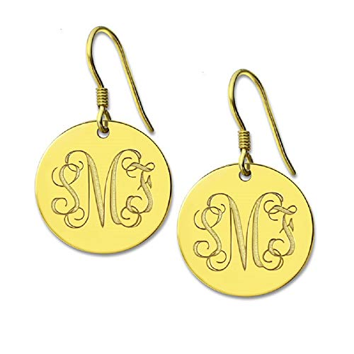Earrings Round Monogrammed - Personalized Round Monogram Earrings Silver Engraved Monogrammed Initials Earrings 3 Letter Nameplate Earring (Gold)