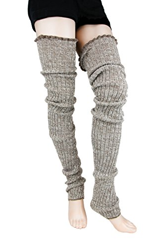 Foot Traffic Cable Knit Legwarmers (Super Long, Oatmeal)