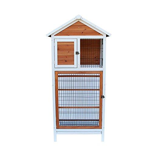 Yoshioe Bird Cage Wooden Cockatiel Parakeet Canary Finch Conure Play House Pet Supply (64 inch)
