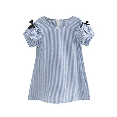 Summer Casual Muslim Dress with Jacquard Sleeve (Blue) - 8