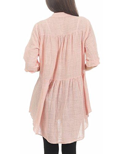 d't Chemise Courtes Vieux Boutonnage Manches Rose Patte pour Longues Femme Chemise ZARMEXX Manches de Chemise 1qYBBZ
