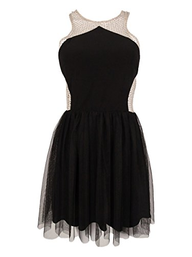 Blondie Nites Juniors' Embellished Illusion Dress (11, Black/Beige)