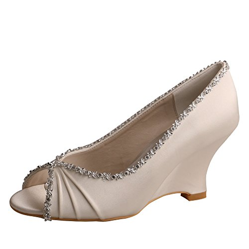 Wedopus MW292 Women Wedges Heel Peep Toe Pumps Pleated Satin Wedding Evening Dress Shoes Size 5 Ivory - Satin Peep Toe Pump Heel