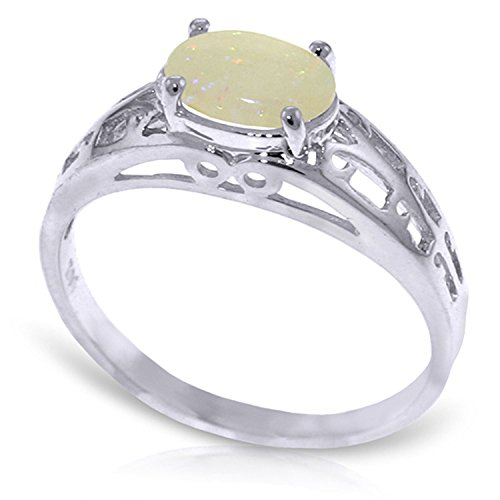 ALARRI 0.45 Carat 14K Solid White Gold Filigree Ring Natural Opal With Ring Size (Gold Filigree Opal Ring)