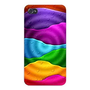 Apple Iphone Custom Case 5 / 5s White Plastic Snap on - Stacked Rainbow Colors w/ Raindrops