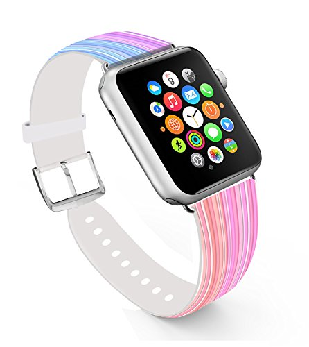 Apple Watch Band 42mm, Replacement Band Genuine Leather Iwatch Strap With Silver Metal Clasp For iWatch 42mm Colorful Stripes Graduate Changing (Graduate Stripe)