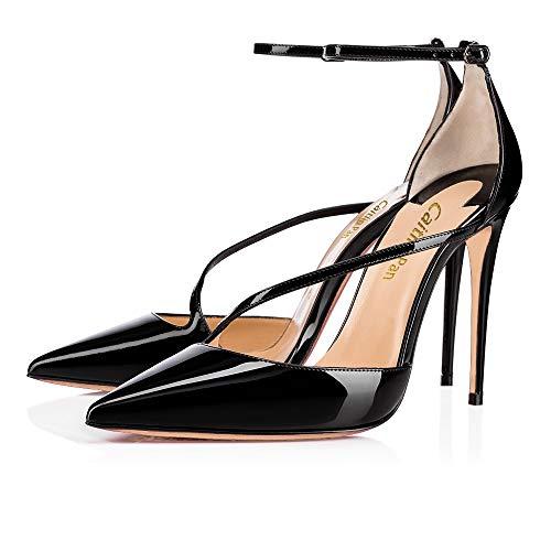 Pan Chaussures Pompes Bout Aiguille Bracelet Femmes à Rouge à Talon 10cm 10cm Hauts Talons par Noir Semelle pointuSlingback Caitlin Défaut ASdzWqz