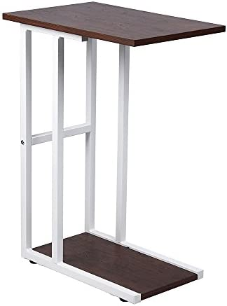 GIA B06XXFH7Q7 C Shape Side End Table, Walnut White