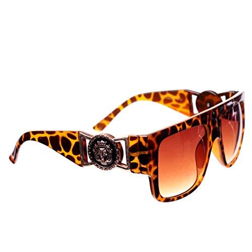 Brown Tortoise Gold Lion Head Medallion Wayfarer Sunglasses Brown Lens - Sunglasses Lion