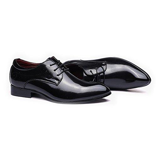 Easy Go Shopping Classique Hommes Chaussures Lisse Haute PU Cuir Lacets Bout Pointu Toe Doublé Richelieus Chaussures de Sport en Cuir pour Hommes Black osL1WZTckR