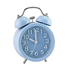 PiLife 3 Mini Non-ticking Vintage Classic  Analog Alarm Clock with Backlight , Battery Operated Travel Clock, Loud Twin Bell Alarm Clock for Kids ( 3D Blue)