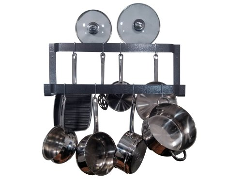 Rogar Offset Double Wall Mounted Pot Rack in Hammered Steel (Pot Rack Offset Steel)