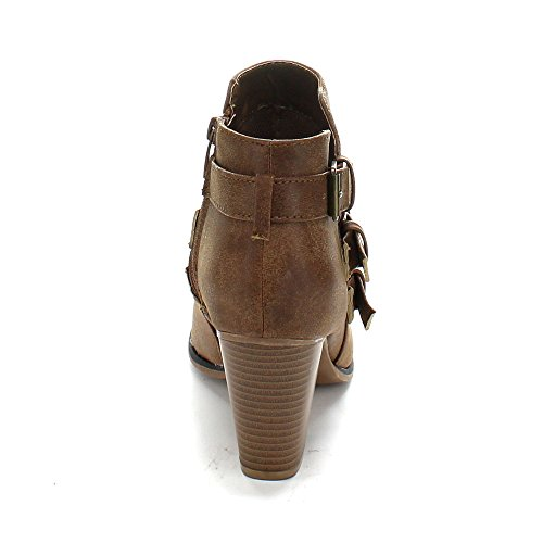 Women's Strappy 64 Booties Shoes PU Ankle Tan Leather Forever Camila Chunky Block Heel High Upper with q58S5t