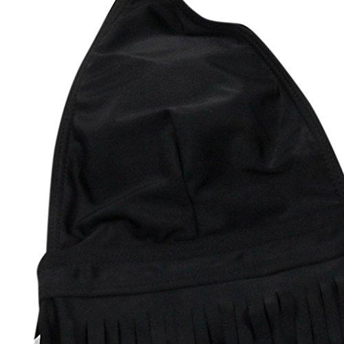 Costume con superiore da Filo bagno da donna da Motivo bagno Costumi intero Costume stringhe Nero Nappe unita da Materiale Costumi da senza Longra Poliestere Tinta bagno Slip bagno lacci 0awrdq0