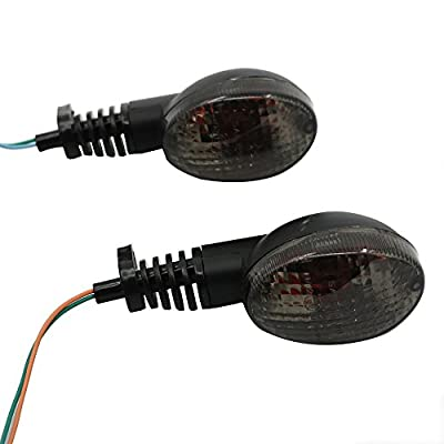 Motoparty Front&Rear Turn Signal Indicator Light Blinker Lamp For KAWASAKI EX250R NINJA 250R KLX250S KLX250SF VN650 Vulcan S,Smoke Shell: Automotive