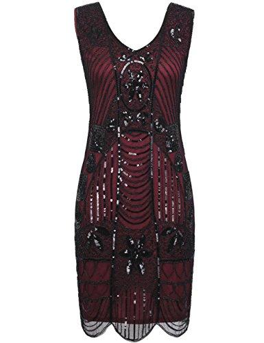 PrettyGuide Women's 1920s Gatsby Sequin Art Deco Cocktail Flapper Dress XS Burgundy