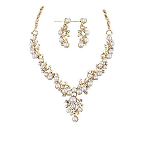 Clearance Deals Necklace+Earrings Jewelry Set Womens Pearl Rhinestone Short Necklace Earrings Wedding Bride Jewelry by ZYooh ()