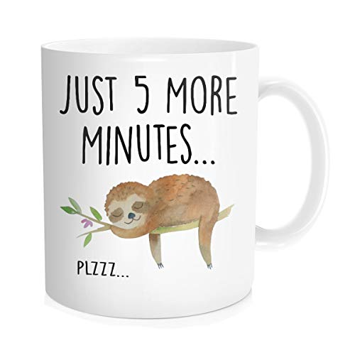 (Hasdon-Hill Funny Sloth Cup, Just 5 More Minutes Coffee Mug, Cute Tea Lazy Gift For Her Him, Birthday Christmas, 11 OZ White Ceramic)
