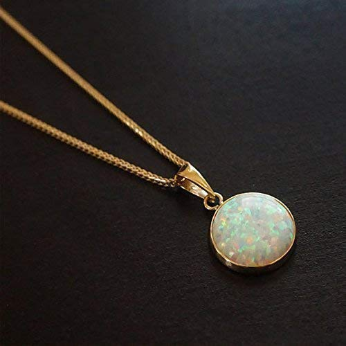 14k Opal Necklace - 14k Yellow Necklace with White Opal Gemstone - Christmas Gift