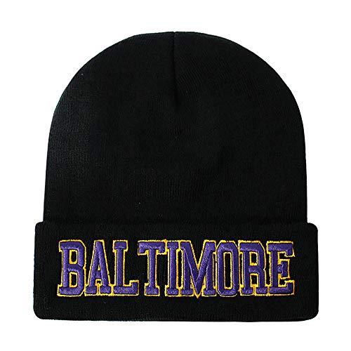 (Classic Cuff Beanie Hat - Black Cuffed Football Winter Skully Hat Knit Toque Cap (Baltimore))