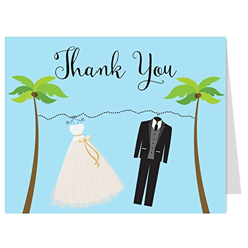Thank You Cards, Beachy Clothes, Bridal Shower, Beach, Gown, Tux, Theme Wedding, Destination Wedding, Bridal Gown, Fun in the Sun, Nautical, Oceanside, 50 Printed Folding Notes with Envelopes (Destination Gown)