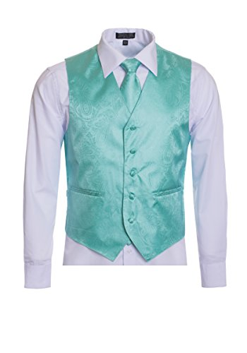 Men's Premium Paisley Vest Neck Tie Pocket Square Set Paisley Vest for Suits and Tuxedos-Many Colors (Medium, Aqua) (Colors Tuxedo Vest)
