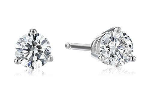 18K White Gold Round Basket Setting 3-Prong Diamond Stud Earrings (1/2 cttw, G-H Color, SI1-SI2 Clarity)