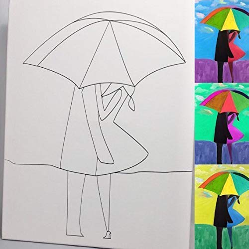 Amazon Com Couple In The Rain Diy Coloring Canvas Paint And Sip Handmade