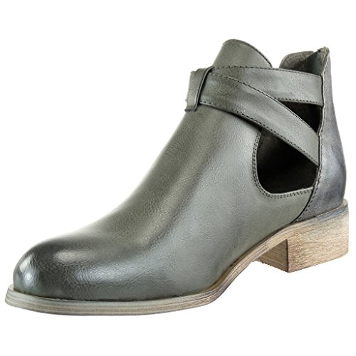 Knot Fashion cm Heel Shoes Cavalier Shiny Material Boots 3 Angkorly Bi Node Ankle Camouflage Women's Block Green Booty aU5nUwqv6