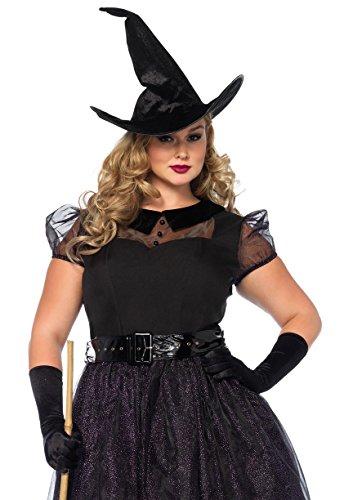 [Leg Avenue Women's Plus Size Darling Spellcaster Costume, Black, 3X-4X] (Womens Plus Size Witch Costumes)