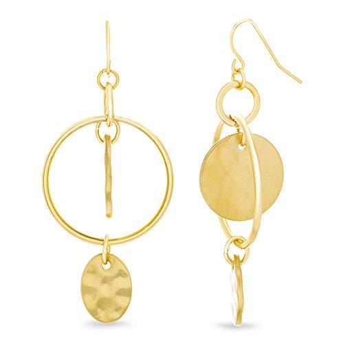Catherine Malandrino Hammered Design Geometric Circle Yellow Gold -Tone Dangle Earrings for Women - Hanging Disc Earrings