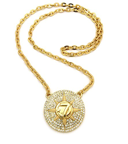 """Gold-tone Micro Pave 7 Star Pendant 6mm 30"""" Link Chain Necklace RC445G"""
