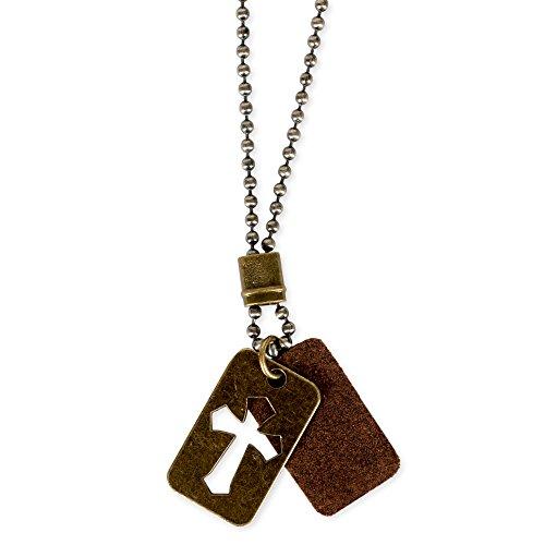 Dog Tags Bronze Tone Cutout Cross Leather Pendant Mens Christian (Kerusso Christian Accessories)