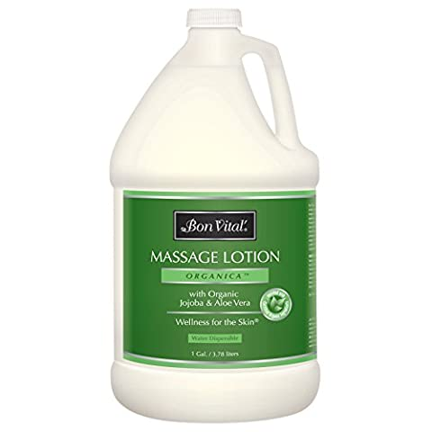 Bon Vital' Organica Massage Lotion Made with Certified Organic Ingredients for an Earth-Friendly & Relaxing Massage, Natural Moisturizer Perfect Lotion for Relaxing Back & Neck Massages, 1 Gal - Bon Vital Organica Lotion