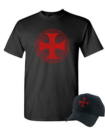 Knights Templar Cross - Christian Jesus - T-Shirt + Hat Combo, L, Black