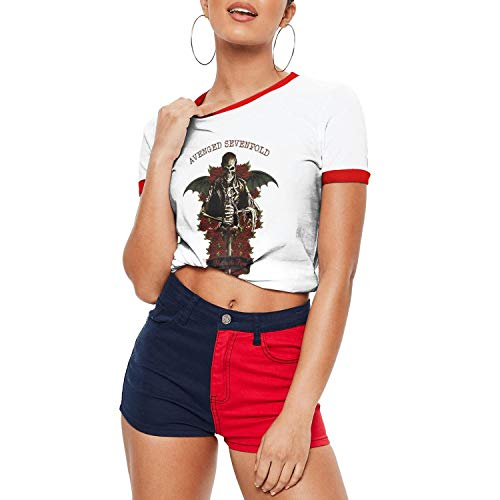 Dmamgk loang Girl Fitted Casual O Neck Jersey Ringer Tee Shirts