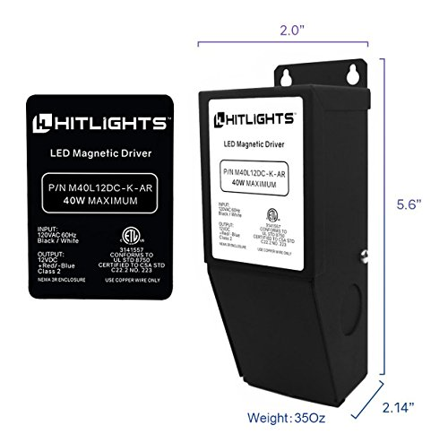 HitLights 40 Watt Dimmable LED Driver, 12V Magnetic LED Driver Transformer – 110V AC – 12V DC LED Transformer. Compatible with Lutron and Leviton for LED Strip Lights, Constant Voltage LED Products by HitLights (Image #1)'