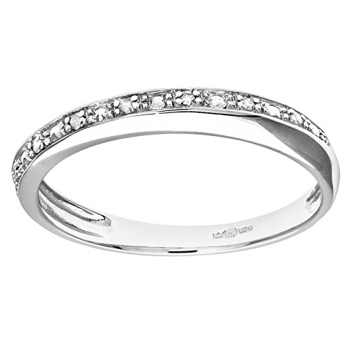 Naava Women's 9 ct White Gold Diamond Pave Set Crossover Effect Half...