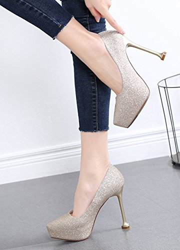 High Heels Leisure Waterproof Platform Mouth Women Shoes Wedding Single Spring MDRW Shallow Golden Elegant Lady Head Shoes Shoes 12Cm Work Shoes Pointed 36 Dinner wq7t0P