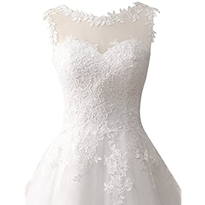 Wedding Dress Lace Bride Dresses Short Wedding Gown Tulle Vintage Bridal Gown Appliques at Women's Clothing store