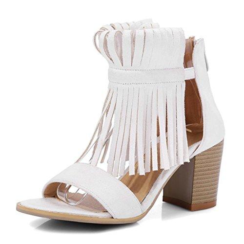 Aisun Femmes Unique Frangée Toe Tops Hauts Robe Bloc Moyen Talons Zip Up Sandales Chaussures Beige