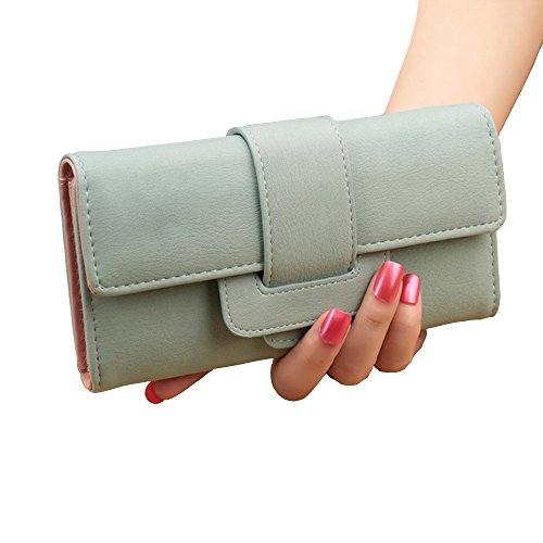 Women Matte Soft Leather Long Clutch Wallets Vintage Zipper Coin Pouch Cash Change Checkbook Organized Trifold Buckle Large Capacity Snap Card Holders Travel Purse (Light Green) ()