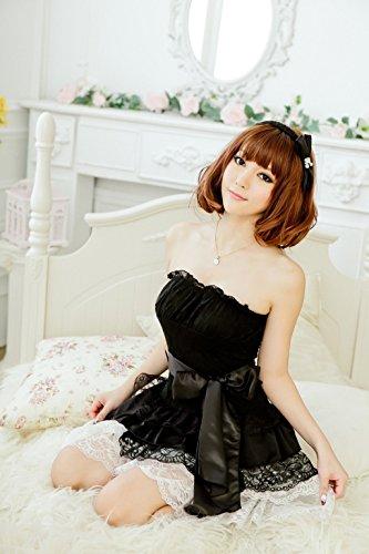 Shangrui Mujer Pijamas Envuelta en el Pecho Conjuntos de Ropa Interior de la Princesa Vestido de Racy W134 Negro